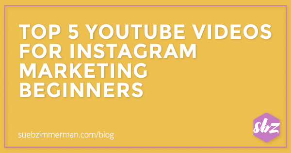 Blog header with a yellow background and text that says top 5 YouTube videos for Instagram marketing beginners.