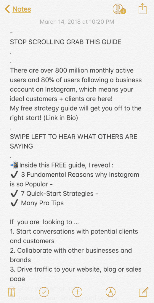 screenshot instagram caption formatted with bulleted lists using black check emojis and numbers