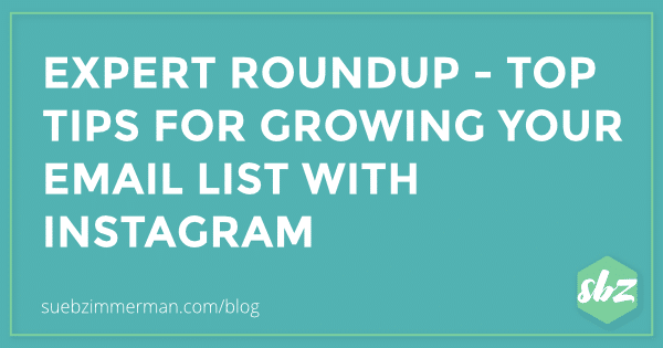 Blog header with a teal background and text that says Expert Roundup- top tips for growing your email list with instagram