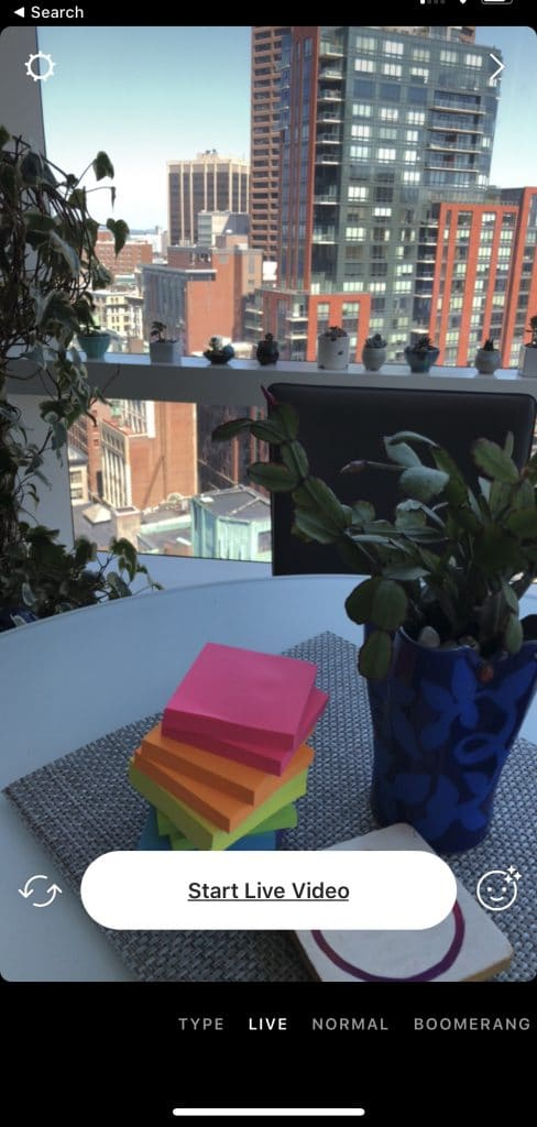 Sue B Zimmerman's kitchen table with a stack of post its and a plant.