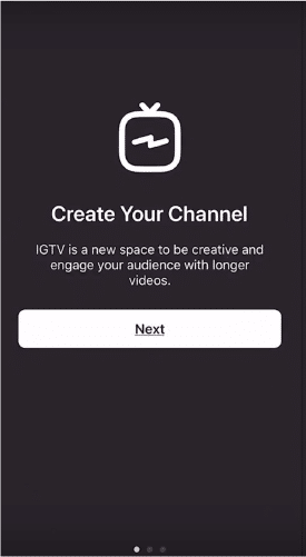 Sue B Zimmerman's IGTV with a menu that prompts her to create her own channel.
