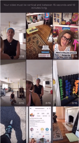 Sue B Zimmerman's IGTV channel with her camera roll open so she can select a video clip.