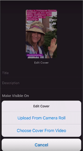 Sue B Zimmerman's IGTV video with a menu open prompting her to edit her IGTV cover.