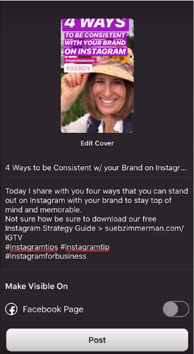 Sue B Zimmerman's IGTV video with the description open to edit.