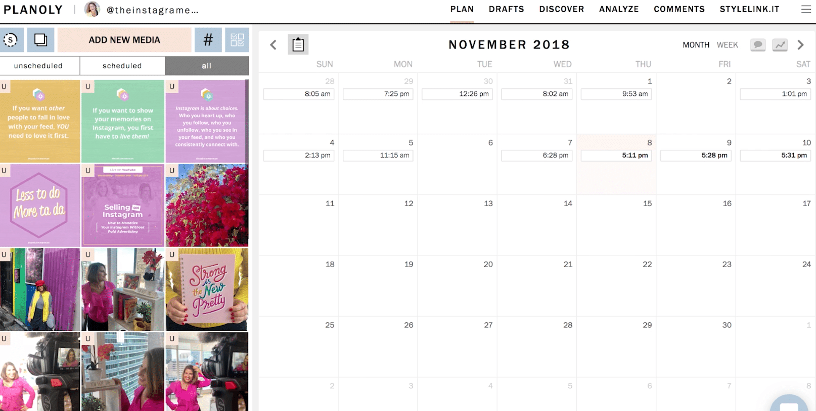 Calendar view of using planoly on your computer with Sue B. Zimmerman, The Instagram Expert