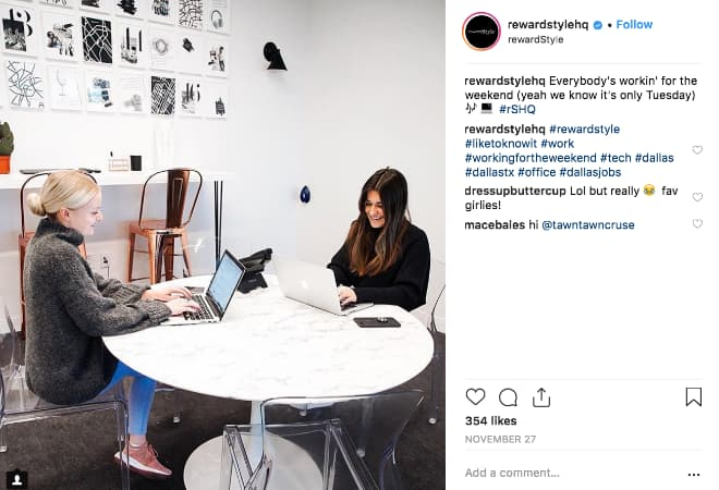 Reward Style HQ uses behind-the-scenes images to share their brand culture and build trust with their community.