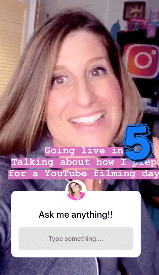 "@theinstagramexpert using Instagram question sticker to promote Instagram Live video: ""Going live in 5. Talking about …"""