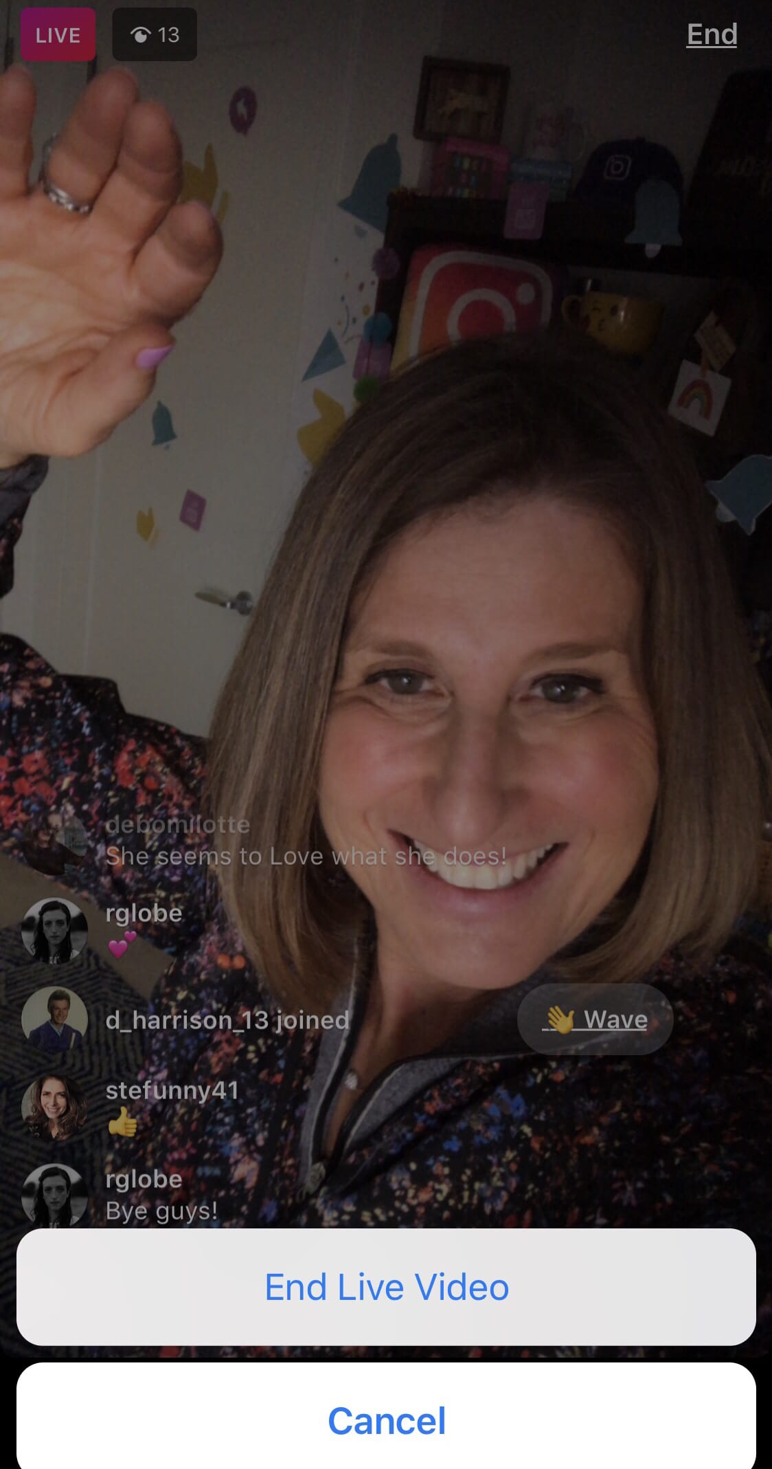 Sue B Zimmerman shares how to end an Instagram live stream