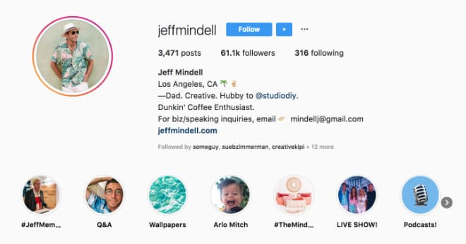Jeff Mindell's Instagram Highlights offer a snapshot of his brand and inspiration.
