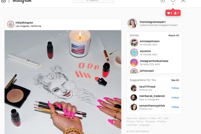Instagram Stories can be found on the computer in the top right column.