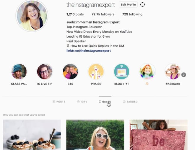 Saved Instagram posts are laid out in a grid in the desktop view, similar to mobile.