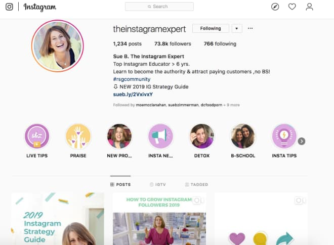 Sue B Zimmerman, @theInstagramExpert, shows businesses how to use Instagram on their computer.
