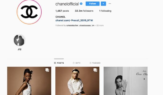 Chanel adds official to the beginning of its username to stand out from copycat accounts.