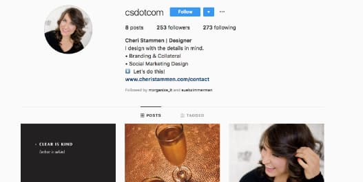 Cherri Stammen, a professional graphic designer, adds .com to her Instagram username.