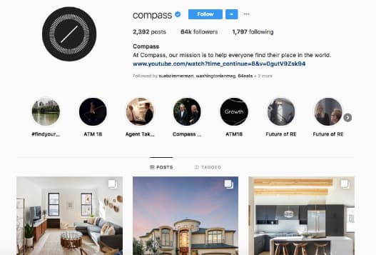 Compass uses its official logo as its Instagram avatar to help establish brand recognition.