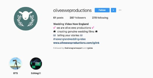 Olive Ewe Productions uses their Instagram bio to briefly explain their photography services and share their brand hashtag.