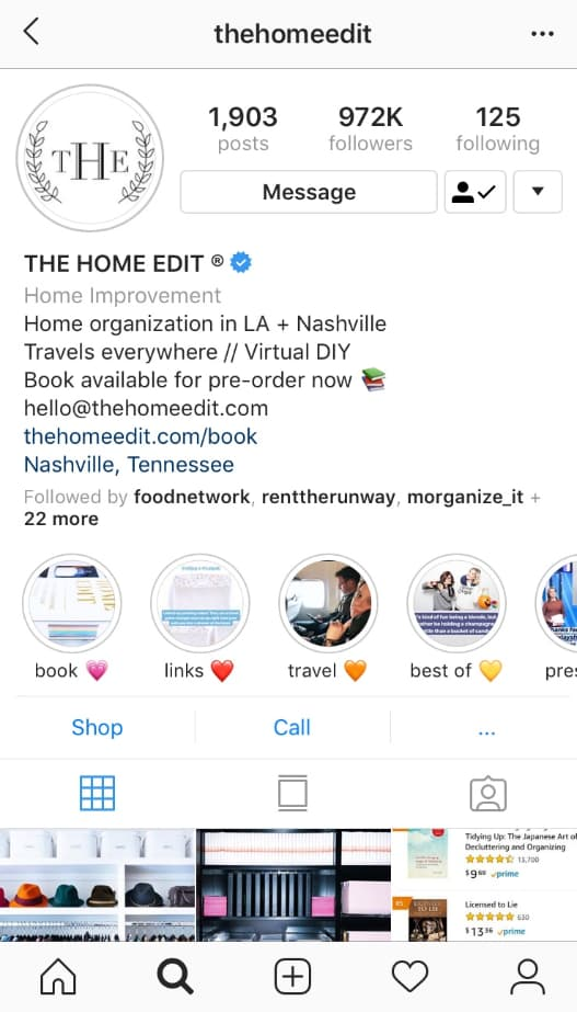 A screenshot of the Home Edit's Instagram feed, which includes their contact info at the top.