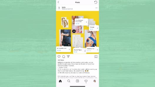 An Instagram post has several shoppable stickers so people can easily tap and buy.