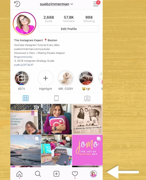 Sue B Zimmerman's profile with an arrow pointing to her Instagram avatar