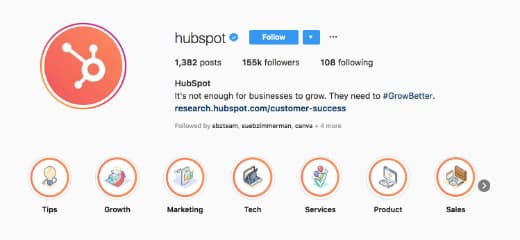 A closeup of HubSpot's Instagram feed focused on its Instagram Highlights.