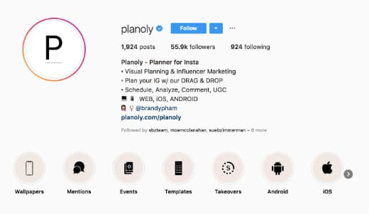 Planoly's Instagram Highlights categories.