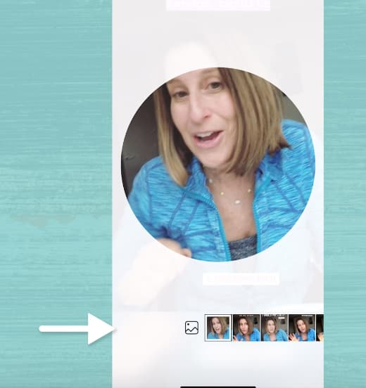 Sue B Zimmerman's Instagram Highlights cover photo options with a white arrow pointing to the camera roll icon.