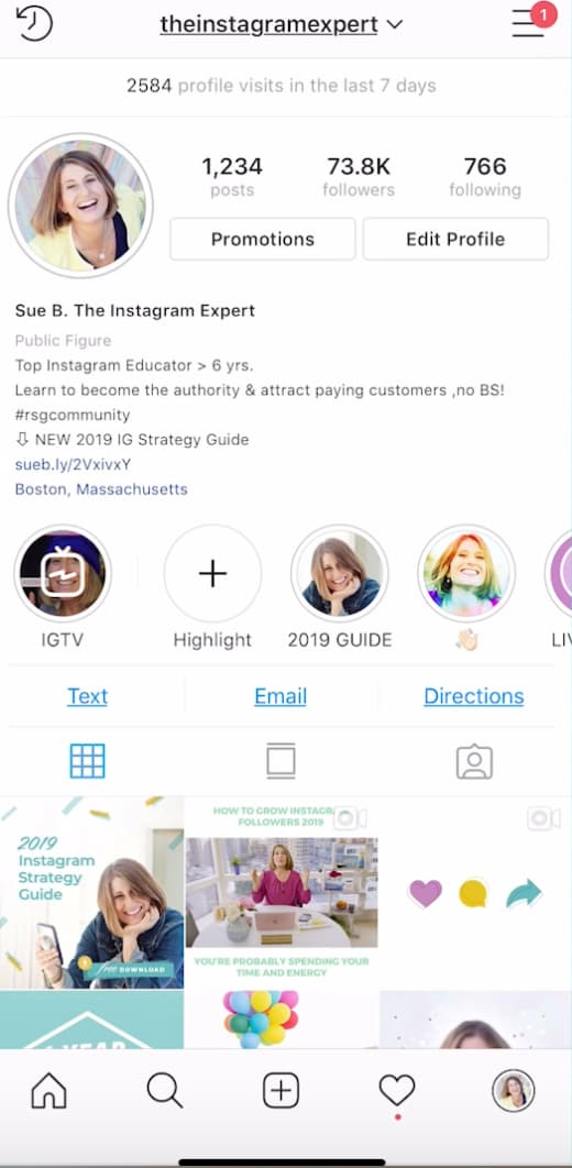 Sue B Zimmerman's profile Instagram feed.