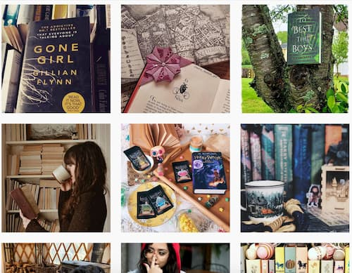 A grid of the photos featured in the bookstagram hashtag hub.