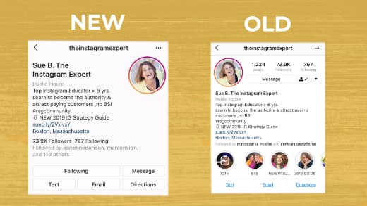Sue B Zimmerman shares a side by side comparison of the old and new Instagram bio format.