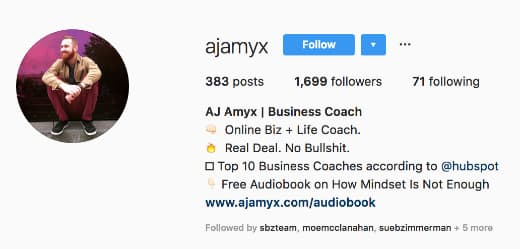 Aj Amyx's Instagram profile includes information explaining his work as a business and life coach.