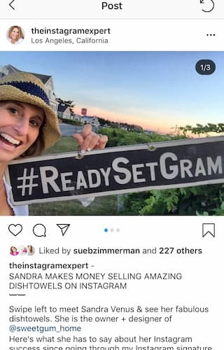 Sue B Zimmerman shares a carousel post where she is holding a #ReadySetGram hashtag sign.