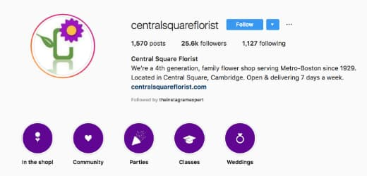 The Central Square Florist's Instagram bio includes information about his business history and Boston connection.