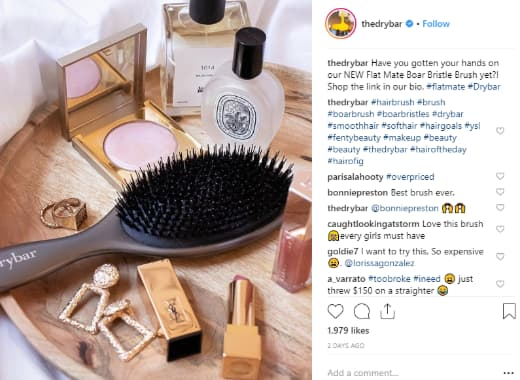 The Drybar's uses the brand's signature yellow accents and vibrant tones in its Instagram feed.