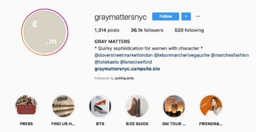 Gray Matters NYC includes a Linktree link in their Instagram bio.