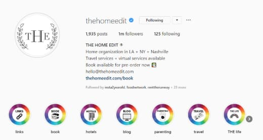 The Home Edit's Instagram bio highlights their services, location and a call-to-action.