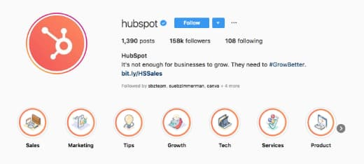 Hubspot's Instagram profile image features their brand logo.