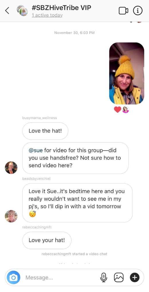 Sue B Zimmerman shares a message from her Hive Direct Message group.