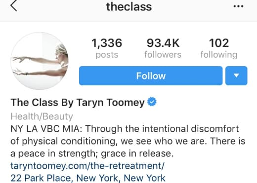 Taryn Toomey's Instagram profile includes her physical location.