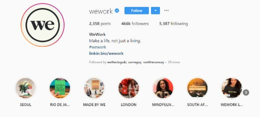 WeWork's Instagram Highlights at the top of their Instagram feed.