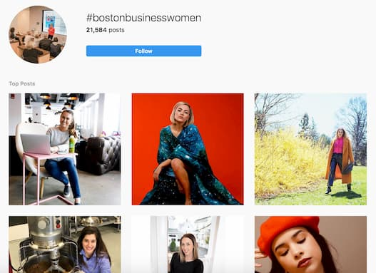 Instagram hub that features all of the Instagram posts tagged with #BostonBusinessWomen.