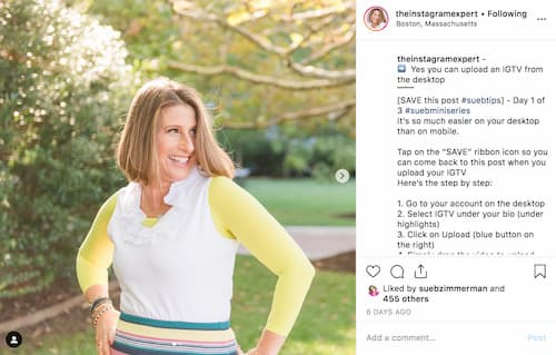 Sue B Zimmerman's Instagram post breaks down the top tips that business owners need to know.