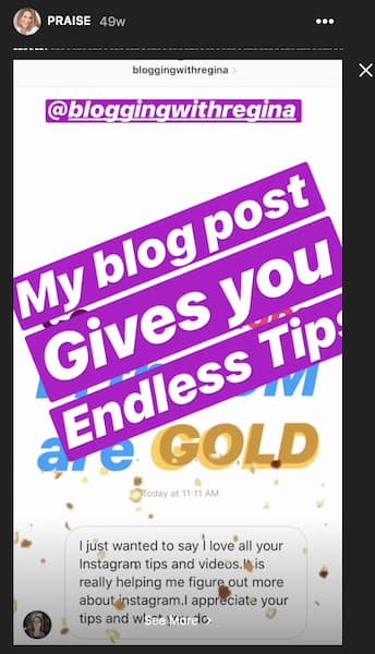 An Instagram Direct message from a happy client is accented with animated gifs and tags to grab peoples' attention.