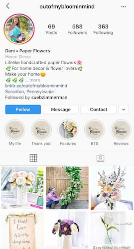 Dani's Instagram feed features colorful paper flowers and pops of color.
