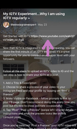 Sue B Zimmerman's IGTV video description with a purple arrow pointing to the live link at the top.