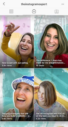 Sue B Zimmerman's IGTV video tab featuring her colorful IGTV cover images.