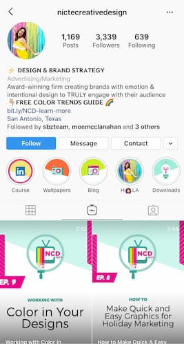 Nicte Creative Design's IGTV cover images all feature a tv with colorful accents.