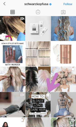 Schwarzkopf's IGTV preview featuring a blonde model undergoing a hair transformation.