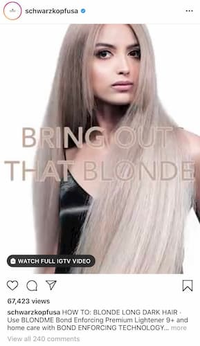 Schwarzkopf's IGTV video features a model on a white backdrop mid-hair flip.