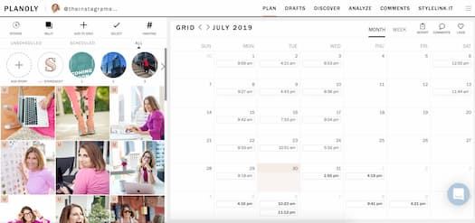 Planoly's interface maps out Instagram content and potential posts.