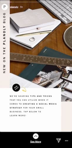 """Planoly's beige-toned Instagram Story that says """"new on the planoly blog."""""""
